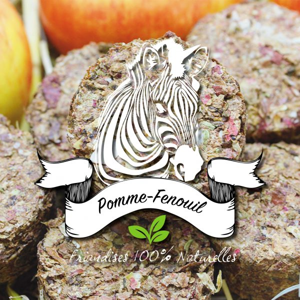 Pomme séchée avec du fenouil pour les problèmes digestifs chez le cheval, sucre d'orge friandises