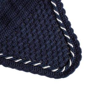 bonnet marine avec cordelette marine et blanche